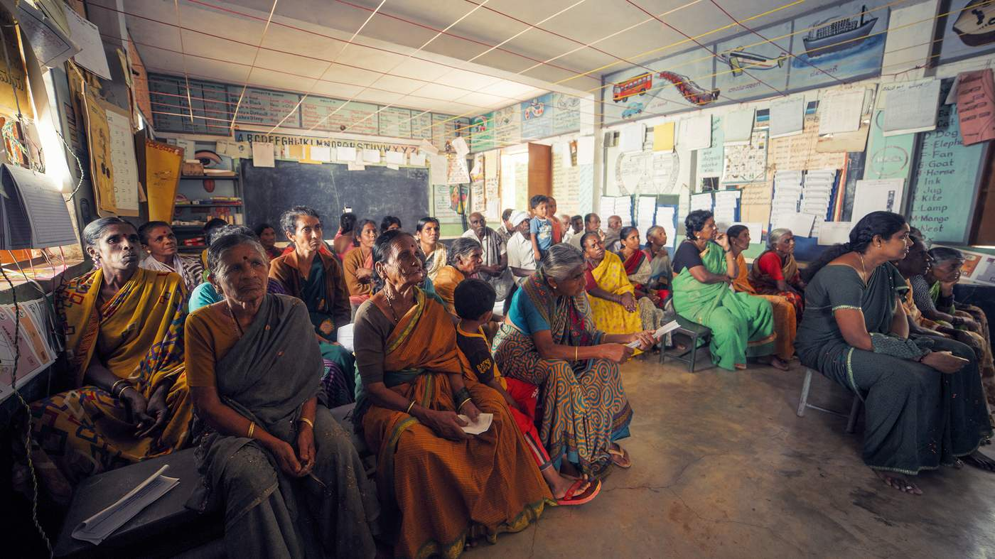 Around 50 villagers in Dalasanur, mostly women, attended the first awareness session of the Srinivasapura Ageing Senescence and Cognition (SANSCOG) project on November 20. Photo: Rajesh Subramanian