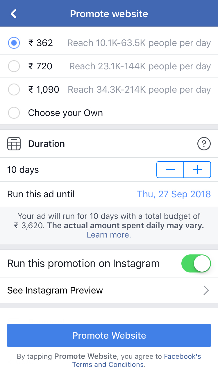 Facebook allows you to advertise on Instagram via the FB ad dashboard
